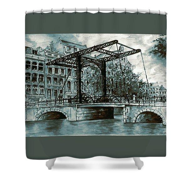 Old Amsterdam Bridge In Dutch Blue Water Colors Shower Curtain
