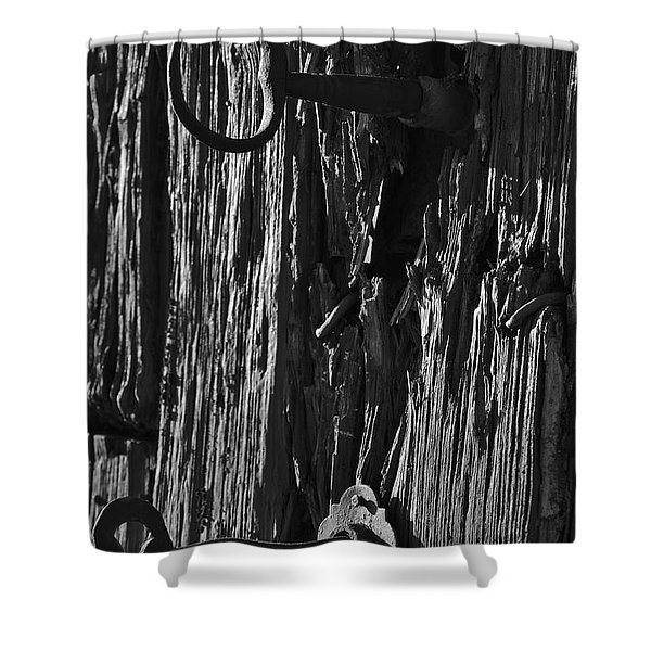 Old And Abandoned Wooden Door With Skeleton Keys Shower Curtain