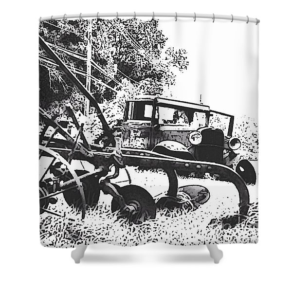 Old And Rusty In Black White Shower Curtain