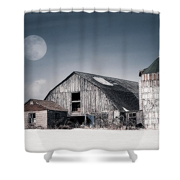 Old Barn And Winter Moon - Snowy Rustic Landscape Shower Curtain