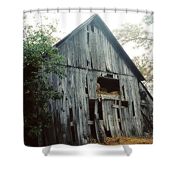 Old Barn In The Morning Mist Shower Curtain
