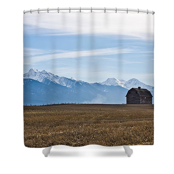Old Barn, Mission Mountains Shower Curtain