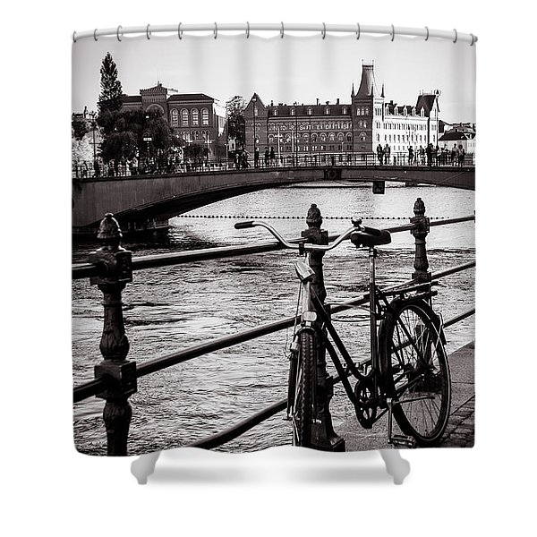 Old Bicycle In Central Stockholm Shower Curtain
