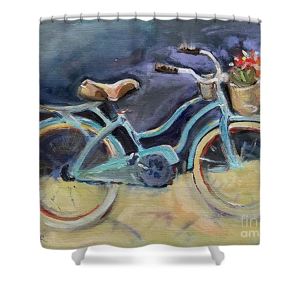 Old Blue Bicycle  Shower Curtain