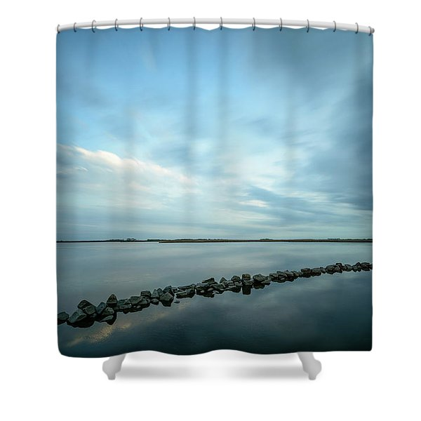 Old Blue Morning Shower Curtain