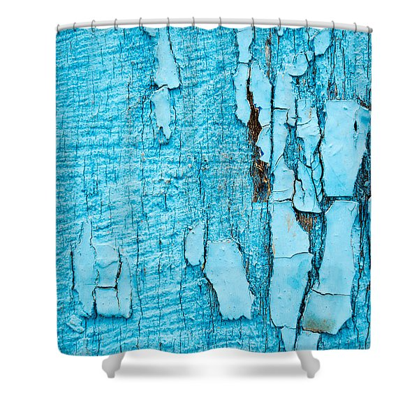 Old Blue Wood Shower Curtain