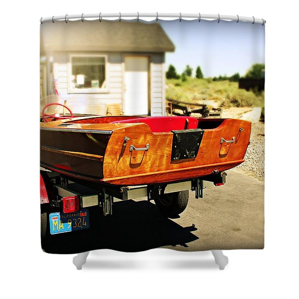 Old Boat By The Shack Shower Curtain