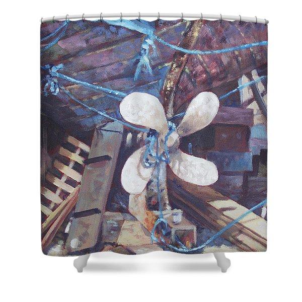 Old Boat Propeller Shower Curtain