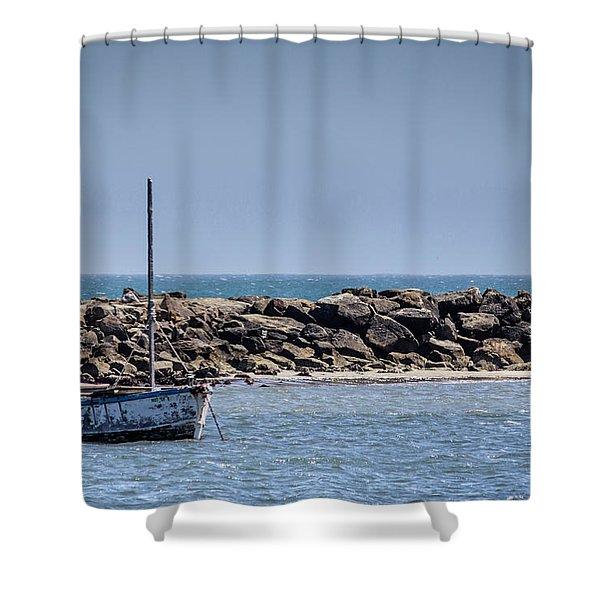 Old Boat - Half Moon Bay Shower Curtain