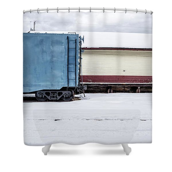 Old Box Car At A Freight Station Shower Curtain