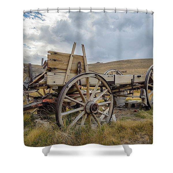 Old Buckboard Wagon Shower Curtain