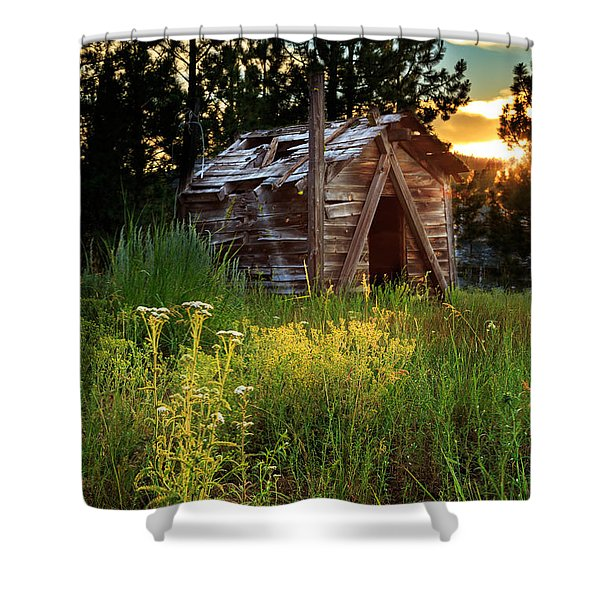 Old Cabin At Sunset Shower Curtain
