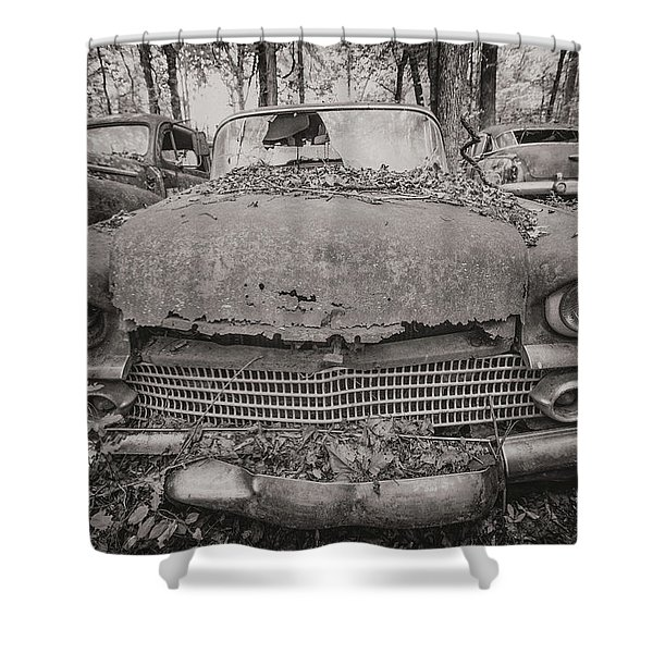 Old Car City In Black And White Shower Curtain
