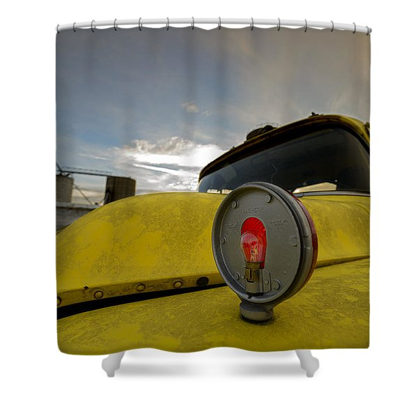 Old Chevy Truck With Grain Elevators In The Background Shower Curtain