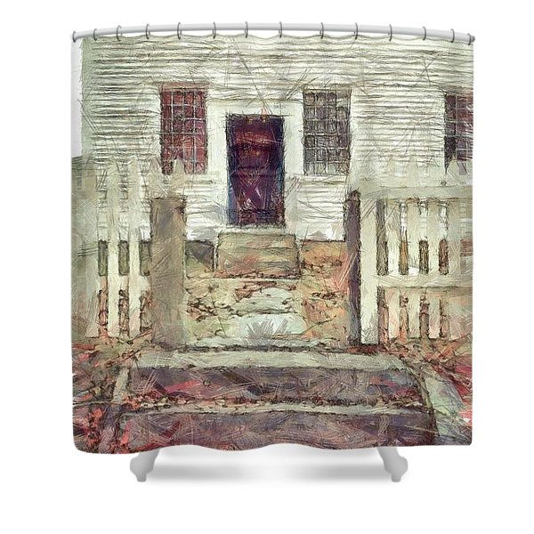 Old Colonial Home Shaker Village Pencil Shower Curtain