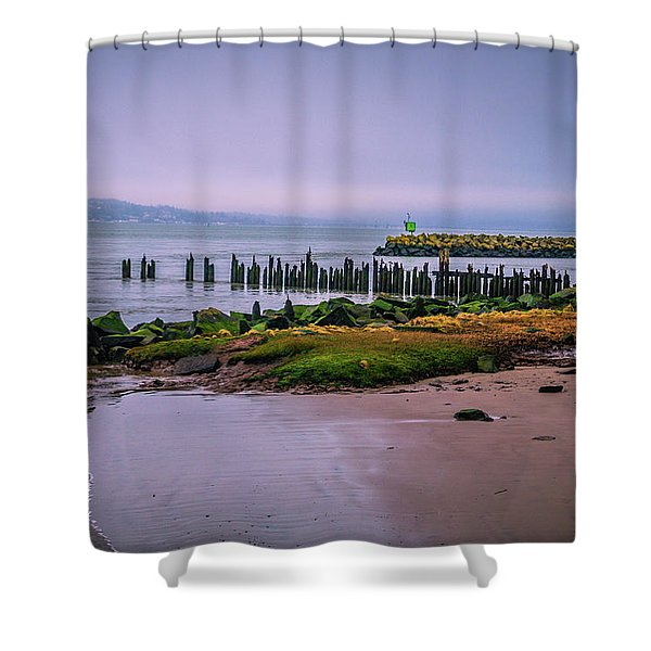 Old Columbia River Docks Shower Curtain