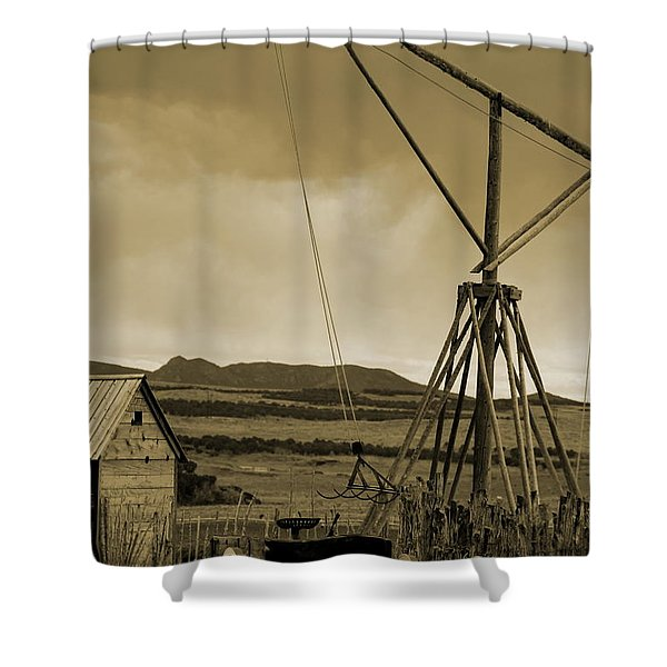 Old Crane And Shed Utah Countryside In Sepia Shower Curtain
