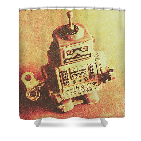 Old Electric Robot Shower Curtain
