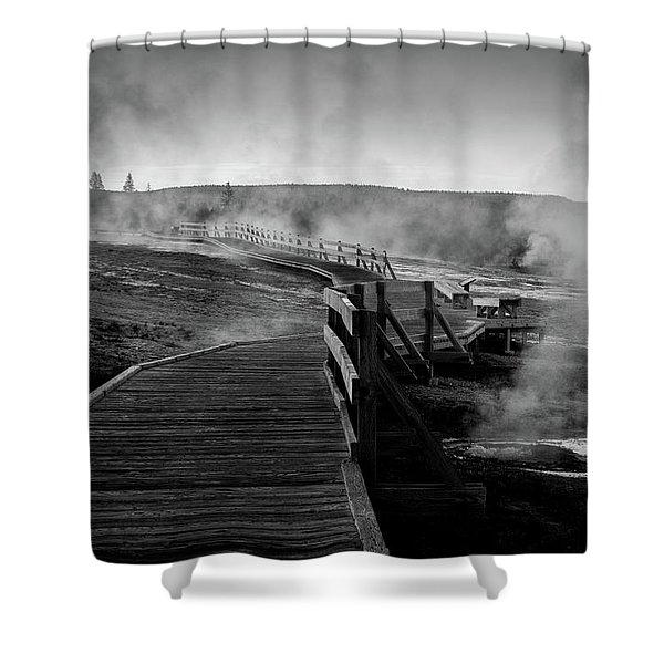 Old Faithful Boardwalk Shower Curtain