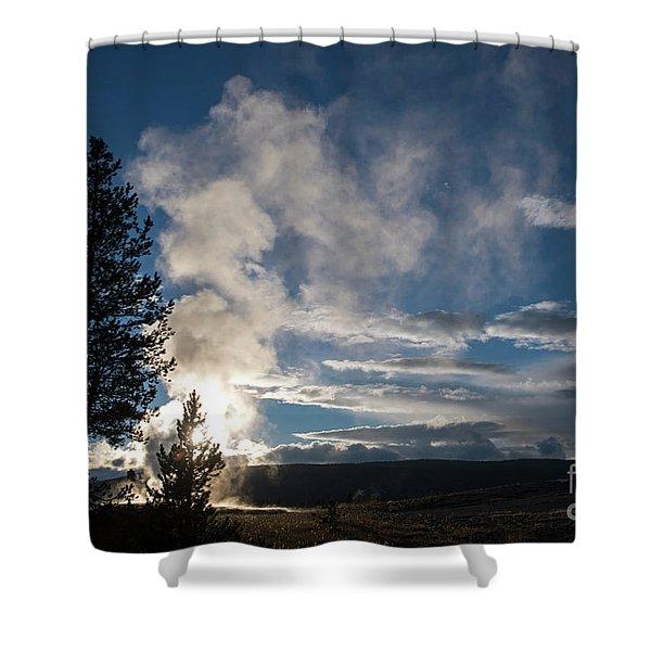 Old Faithfull At Sunset Shower Curtain
