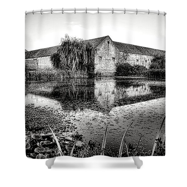 Old Farm And Pond In France Shower Curtain
