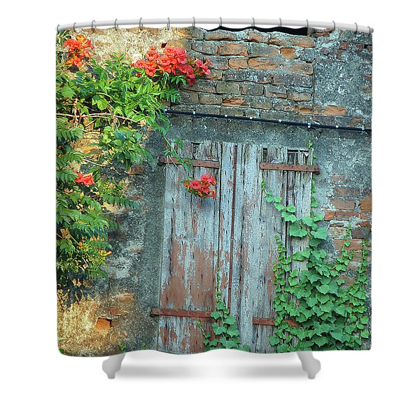 Old Farm Door Shower Curtain