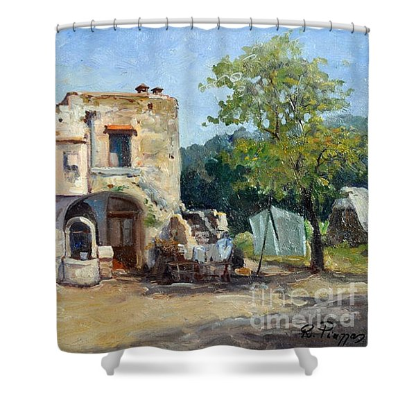 Shower Curtain featuring the painting Old Farm by Rosario Piazza