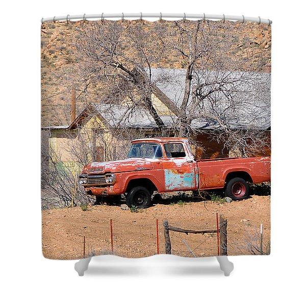 Old Farm Trucks Along Route 66 Shower Curtain