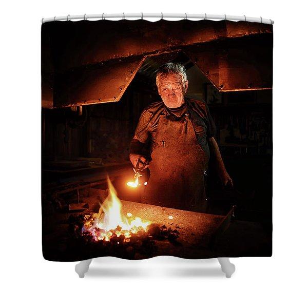 Old-fashioned Blacksmith Heating Iron Shower Curtain