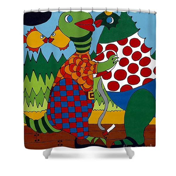 Old Folks Dancing Shower Curtain