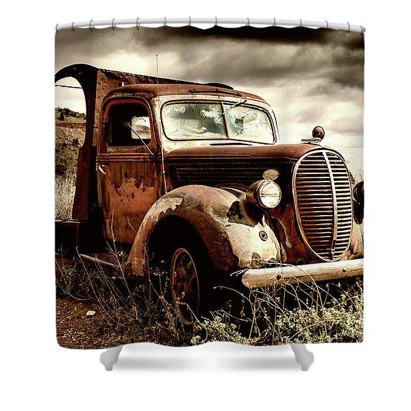 Old Ford Truck In Desert Shower Curtain