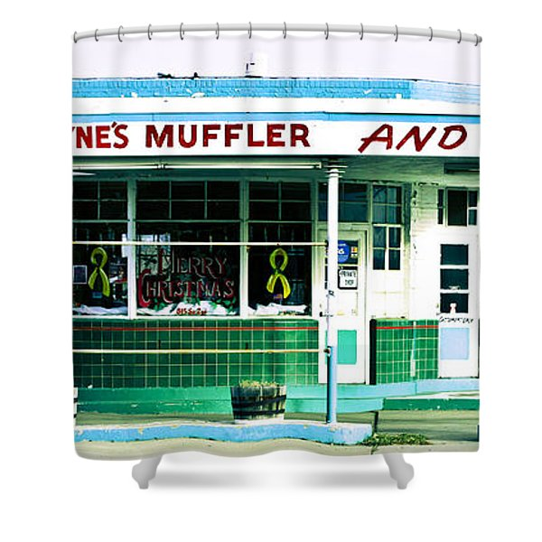 Old Gas Station Green Tile Shower Curtain