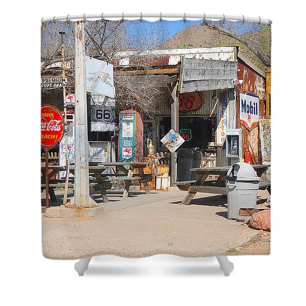 Old Gas Station, Historic Route 66 Shower Curtain