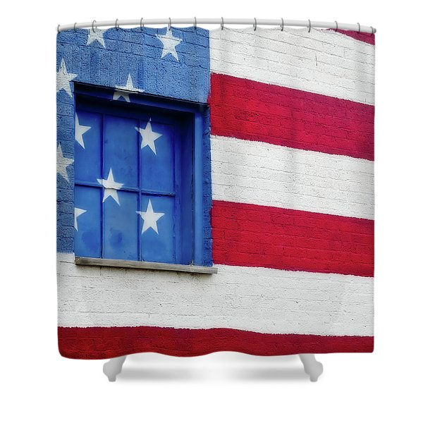 Old Glory, American Flag Mural, Street Art Shower Curtain