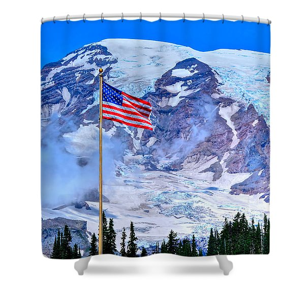 Old Glory At Mt. Rainier Shower Curtain