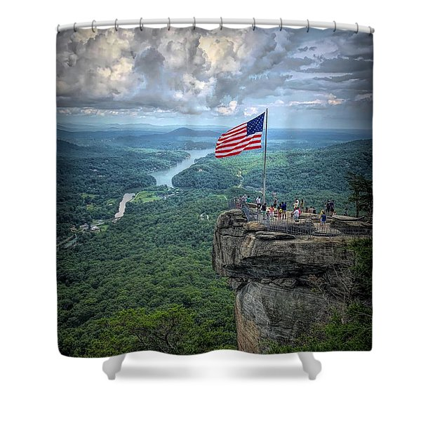 Old Glory On The Rock Shower Curtain