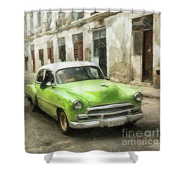 Old Green Car Shower Curtain