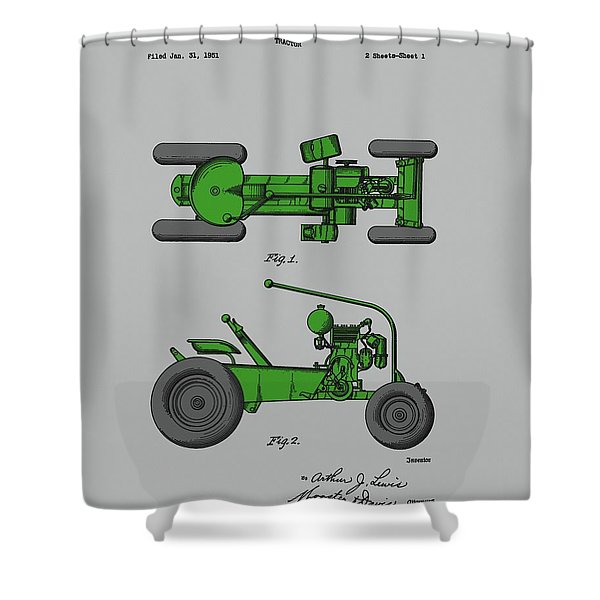 Old Green Tractor Patent Shower Curtain