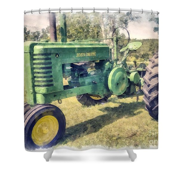 Old Green Vintage Tractor Watercolor Shower Curtain