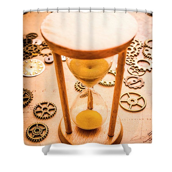 Old Hourglass Near Clock Gears On Old Map Shower Curtain