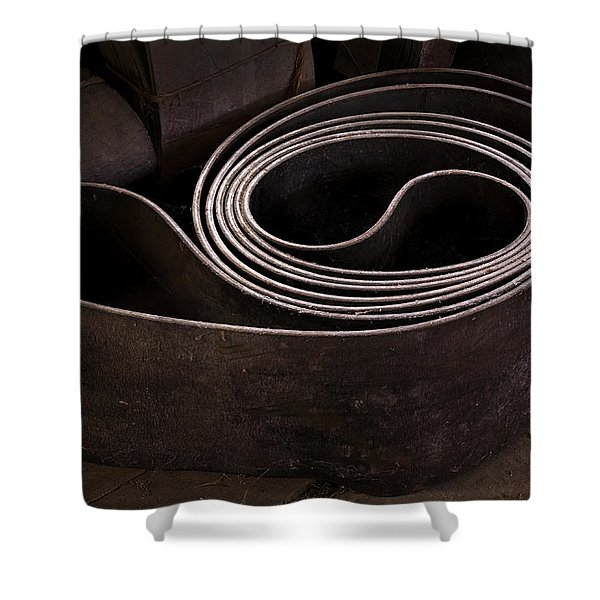 Shower Curtain featuring the photograph Old Machine Belt by Tom Singleton