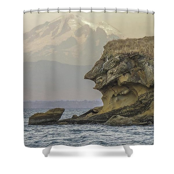 Old Man And The Mountain Shower Curtain