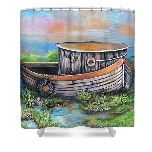 Old Mans Boat Shower Curtain
