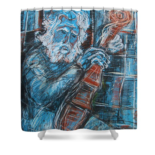Old Man's Violin Shower Curtain