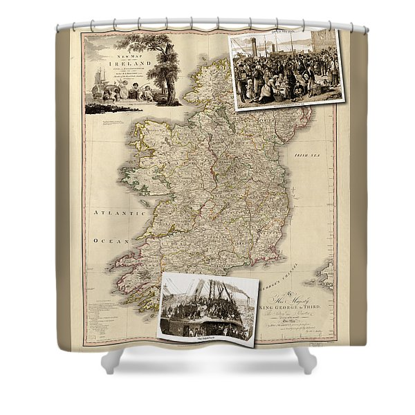 Vintage Map Of Ireland With Old Irish Woodcuts Shower Curtain