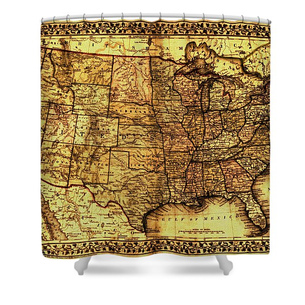 Old Map United States Shower Curtain