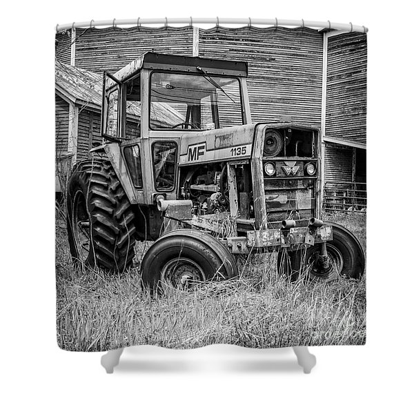 Old Mf Tractor Square Shower Curtain