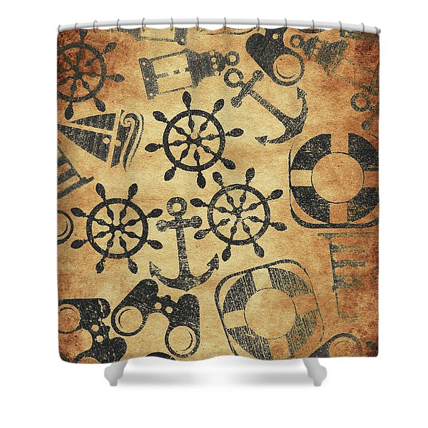 Old Nautical Parchment Shower Curtain
