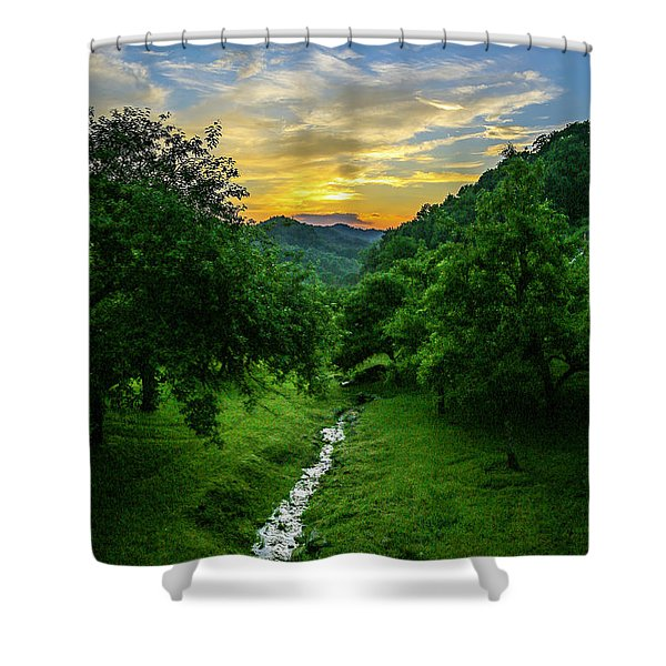 Old Orchard Glow Shower Curtain