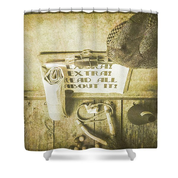 Old Paper Boy News Stand Shower Curtain